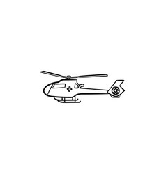 medical helicopter hand drawn outline doodle icon vector image