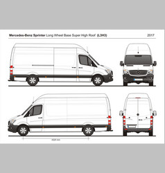 Mercedes sprinter lwb shigh roof cargo l3h3 2017 vector