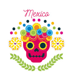 Mexico day of the dead skull with floral ornament vector