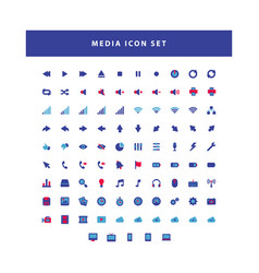 modern media collection icon set with flat color vector image