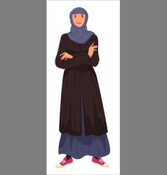 muslim woman wearing long dress and headscarf vector image