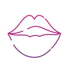 Neon silhouette female fashion lips style vector