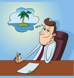 office worker dreaming vector image