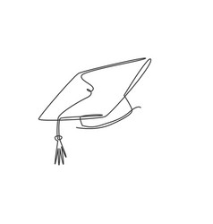 one continuous line drawing graduation cap vector image