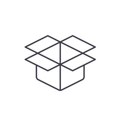 Open carton box thin line icon linear vector