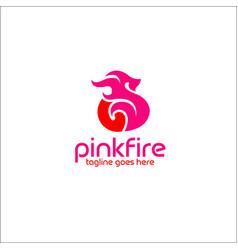 Pink fire logo design vector