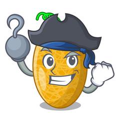Pirate fresh honeydew melon on cartoon table vector