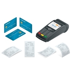 POS Terminal debit credit card Sales printed vector