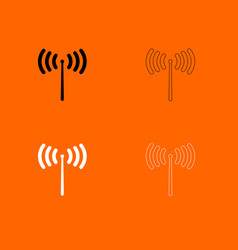 Radio signal black and white set icon vector