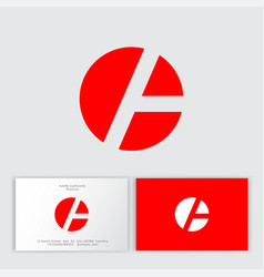 red a letter on a circle monogram business card vector image
