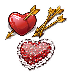 red heart is permeated with the golden arrow vector image