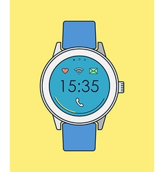 Retro smart watch in line art with time and icons vector