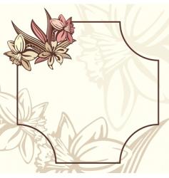 Romantic retro frame with flowers vector