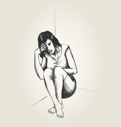 Sad woman sitting on the floor vector