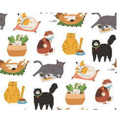 Seamless pattern with cute funny cats sleeping vector