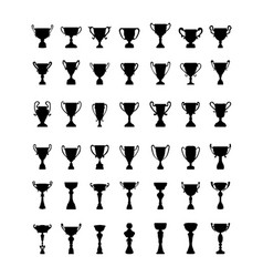 silhouettes of trophy cup vector image