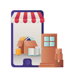 smartphone with tent and gift box vector image