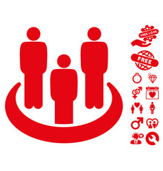 social group icon with valentine bonus vector image