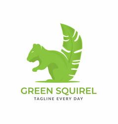 Squirrel leaf logo design template vector