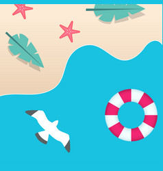 summer beach swimming tire seagull background vect vector image