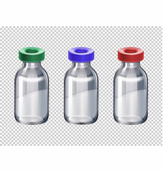 Three bottles with different color caps vector