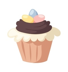 Traditional easter cake white sweet icing vector image