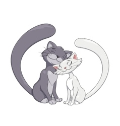 Two enamored cats 2 vector image