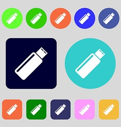 Usb sign icon flash drive stick symbol 12 colored vector