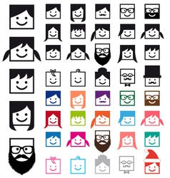 User avatars people icon set vector
