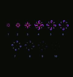 Vfx storyboard purple explosion magic effect vector