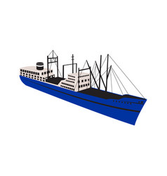 Vintage cargo ship retro vector