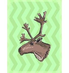 Vintage grunge background with caribou vector