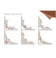 vintage line floral corners vector image
