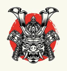Vintage samurai mask template vector