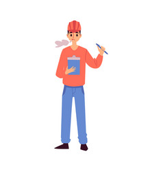 Warehouse worker smoking and reading notepad vector