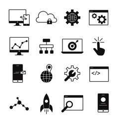 web development line icons vector image