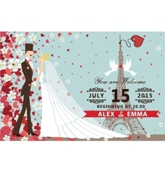 Wedding invitationBridegroom Hearts flowers vector image
