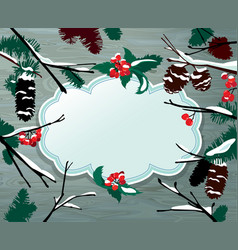 Winter horizontal card with frame berries cone vector