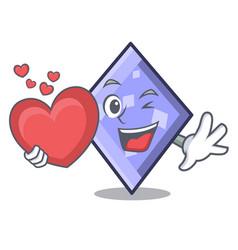 with heart rhombus mascot cartoon style vector image