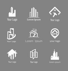 building silhoute logo set vector image