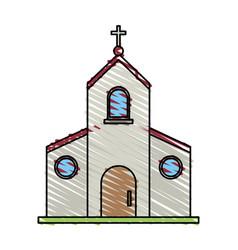 color crayon stripe image church building with vector image