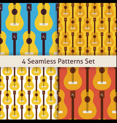 Four Flat Seamless String Music Instrument Guitar vector image