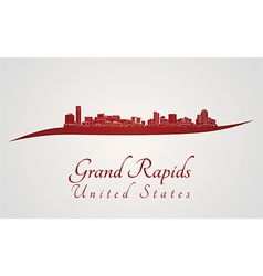 Grand Rapids skyline in red vector image vector image
