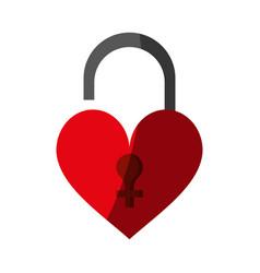 heart shape safety lock icon image vector image