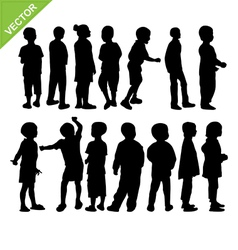 Kids silhouette vector image vector image