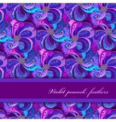 Violet lilac and blue peacock feathers pattern vector image vector image