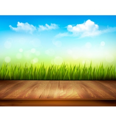 Wooden deck in front of green grass and blue sky vector image vector image