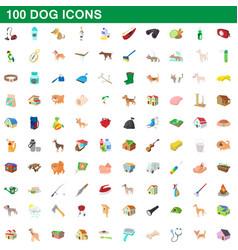 100 dog icons set cartoon style vector image