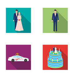 A bride and groom in a wedding dress with a vector