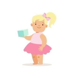 Blond girl with book in pink skirt adorable vector